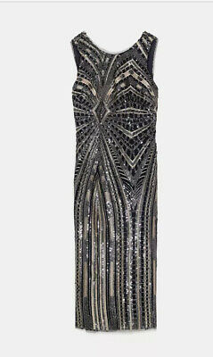 $79.99 • Buy Zara Sequin Dress Medium Black Gold Silver Beaded Fitted Scoop Back Holiday NYE