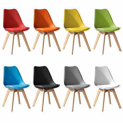 £89.99 • Buy Set Of 4 Dining Chairs Solid Wood Legs Office Chair PU Padded Plastic Back