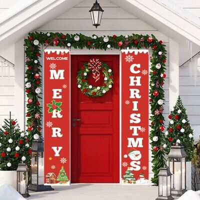 $13.99 • Buy Xmas Christmas Banner Hanging Sign Indoor Outdoor Door Display Decal Decorations