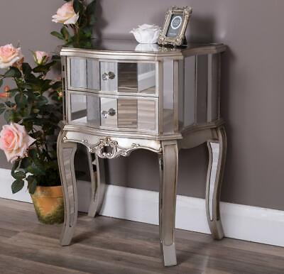 £152.95 • Buy Silver Mirrored Bedside Table Chest  Venetian Bedroom Furniture Glass Cabinet