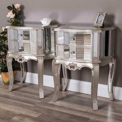 Pair Of Silver Mirrored Bedside Table Chest  Venetian Bedroom Furniture Glass • 289.95£