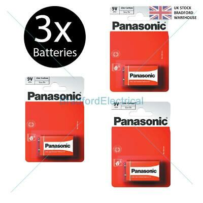 3 X Panasonic 9V PP3 Zinc Carbon Batteries, 9 Volt Smoke Alarms, LR22, MX1604 • 3.49£