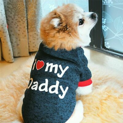 Pet Clothes For Pug Cat Puppy Sweater Small Jumper Dog I Love Mummy/Daddy • 2.32£
