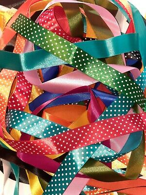 10 Meters Assorted Colours Of 25mm Wide Satin Ribbon Off Cuts Bundle For Crafts  • 2.98£
