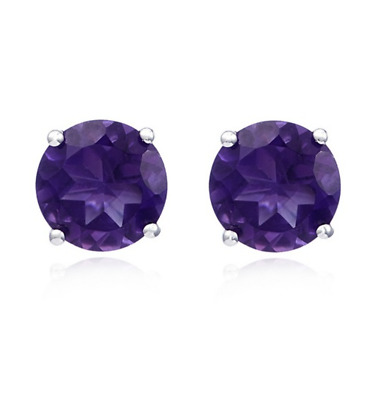 4Ct Amethyst Solitaire Stud Earrings In 14K White Gold Over Sterling • 22£