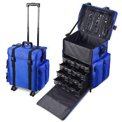 $159.98 • Buy Professional Rolling Makeup Train Case Artist Trolley Soft Sided Storage Blue