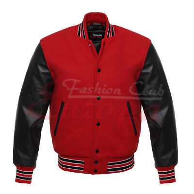 £63.72 • Buy Varsity College Letterman Jacket Red Wool With Black  Real Leather Sleeves