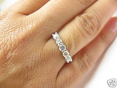 £653.48 • Buy Five Stone Round Diamond Solid White Gold Anniversary Band Ring .72Ct 14Kt H-VS2