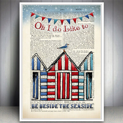 Beach Huts Bathroom Bunting Seaside Print Picture Quote Art Poster Holiday • 6.99£