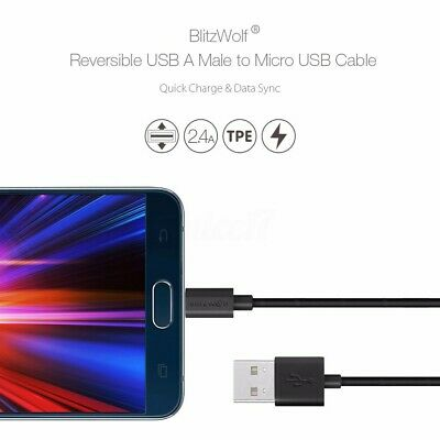 BlitzWolf 2.4A Micro USB Fast Quick Charging Charge Data Sync Cable For  Z • 11AU