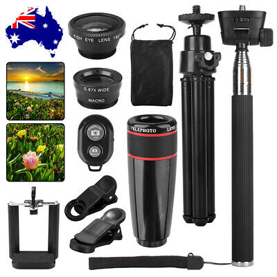 AU18.95 • Buy All In 1 8X Camera Wide Angle Fish Eye Lens Kit Selfie Stick Monopod For Phones
