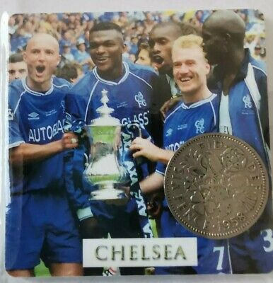 Chelsea Football Card With Lucky Sixpence - Ideal Gift *Inc 1st Class Post* • 3.49£
