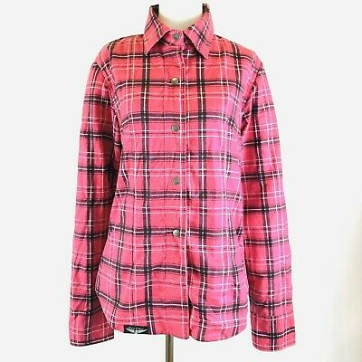 Street & Steel Gastown Armored Flannel Motorcycle Shirt CE Armor Womens L Pink • 30.40$