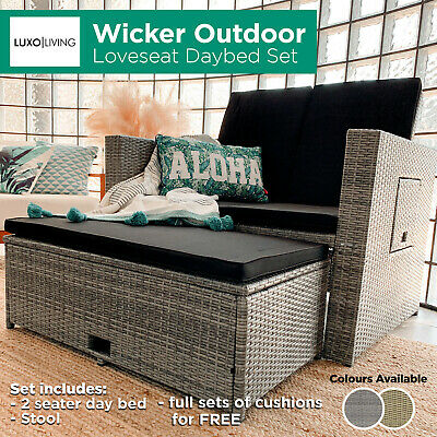 AU249 • Buy 2 Seater Sofa PE Wicker Outdoor Daybed Set Furniture Setting Garden Love Seat