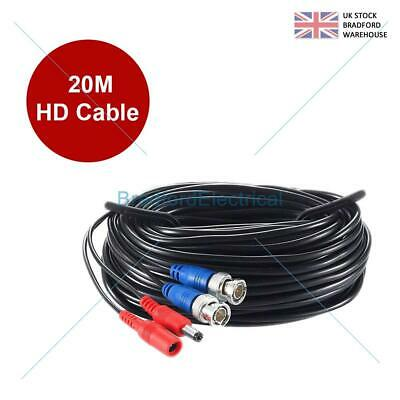 20M HD BNC DC Power Lead CCTV Security Camera DVR Video Camera Extension Cable • 7.99£