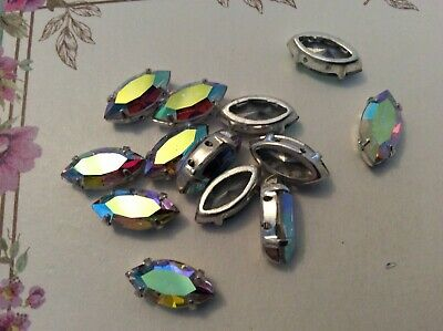 Swarovski #4200 Sew On Navette Crystal AB Rhinestone 4 Hole X12 CRAFT Options • 3.95£