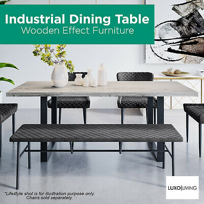 AU459 • Buy Wooden Effect Dining Table For 8 People Rectangular Kitchen Industrial Natural
