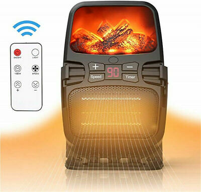 Mini Portable Freestanding Tabletop Space Heater Flame Effect Electric Fireplace • 46.79$