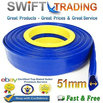 £62.75 • Buy Blue Pvc Layflat Hose-water Discharge Pump Irrigation 2  Lay Flat Delivery Pipe
