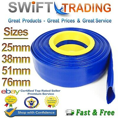 £62.75 • Buy Blue Pvc Layflat Hose-water Discharge Pump Irrigation  Lay Flat Delivery Pipe