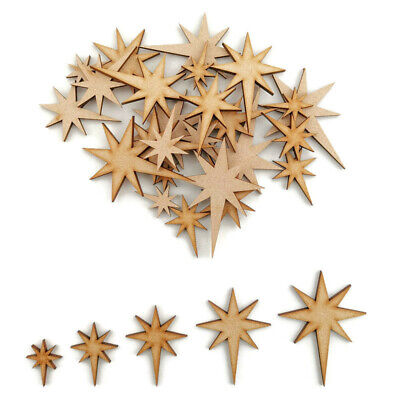 Christmas Star MDF Craft Shapes Wooden Blank Decoration Embellishment Tree Decor • 2.15£