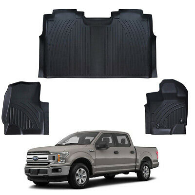 Black TPE All-Weather Floor Mats Liners For 2015-2019 Ford F-150 SuperCrew Cab  • 106$