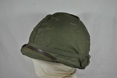 $225 • Buy Early Vietnam Us Army M1 Combat Helmet With Liner And Green Camo Cover