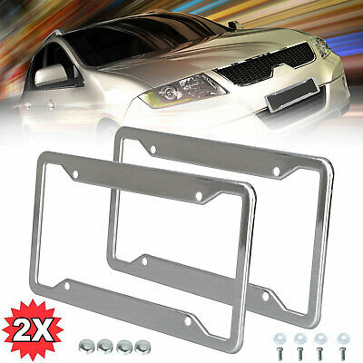 $9.97 • Buy 2Pack Metal License Plate Frame Tag Cover Screw Caps Silver Stainless Steel USA