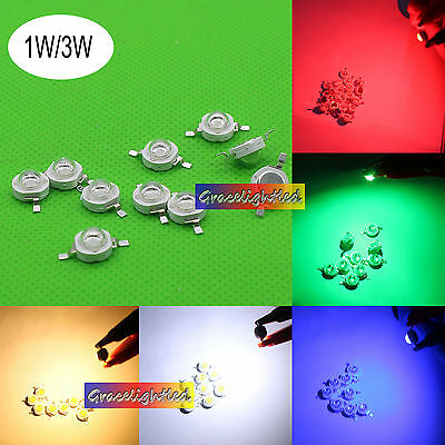 AU3.43 • Buy 1W 3W Watt Cold White 10000-15000K Led Chip Red Blue Green Royal Blue Warm White