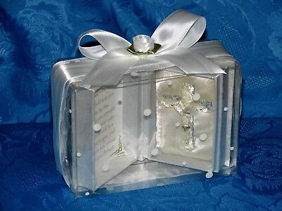 First Holy Communion Gift Prayer Box  With Crystal Glass Cross Ideal Keepsake • 19.99£