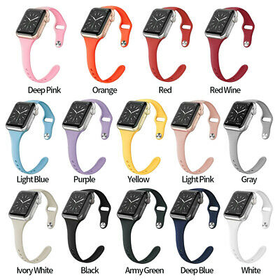 $ CDN6.57 • Buy For Apple Watch SLIM Silicone Band IWatch Wristband Strap Fit 40/44mm 38/42mm