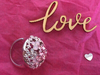 GENUINE Swarovski Jewellery Cherie Rhodium Cocktail Ring PINK SIZE O • 50£