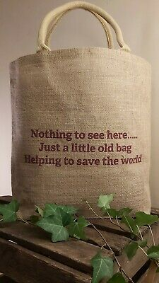 £4.95 • Buy Large Natural Jute Tote Shopping Bag Quirky Eco Friendly Reusable Bag For Life