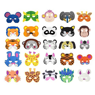 COSORO 25 Kids Eva Foam Animal Masks For Party Bag Fillers,Masquerade,Birthday • 12.44£