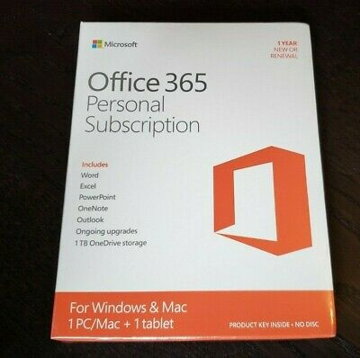 AU67.84 • Buy BRAND NEW Microsoft Office 365 Personal PC Or Mac Word Excel PowerPoint Outlook