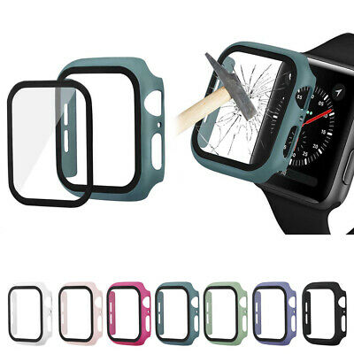 $ CDN5.89 • Buy For Apple Watch Series 5 4 3 2 1 Full Cover Bumper Case With Tempered Glass Film