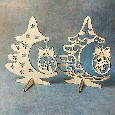 £4.99 • Buy Wooden Christmas Tree Festive Ornament Home Decor Office Desk Gift PlywodCrafts