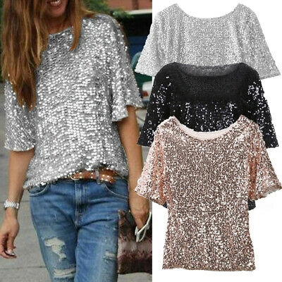 AU17.68 • Buy AU Women's Half Sleeve Sequin Sparkly Glitter Tops Party Clubwear Blouse T-shirt