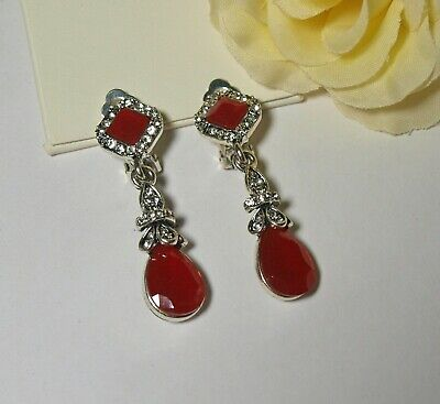 £6.39 • Buy Vintage Style Red And Diamante Teardrop Dangly Clip On Earrings