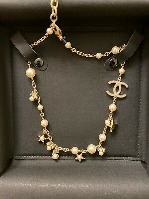 £1189.42 • Buy Chanel Classic CC Logo Pearls Necklace Pearl Gold Chain Necklace 2019 New