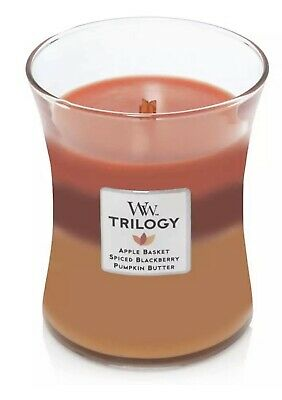 $22 • Buy WoodWick AUTUMN HARVEST Trilogy 10 Oz Scented Jar Candles - 3 In 1 Candle New