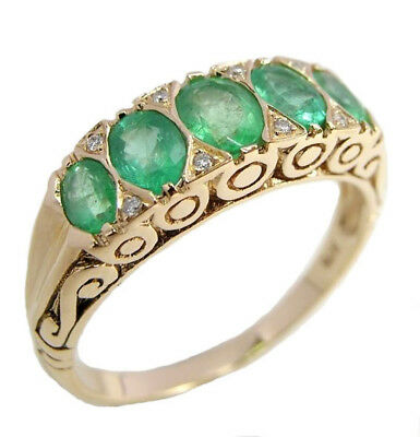 AU691.06 • Buy R507 Genuine 9K 9ct Gold Natural Emerald & Diamond Eternity Ring In Yr Size