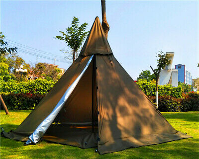 AU209 • Buy AU Ship Portable Waterproof Camping Pentagonal Pyramid Tipi Tent With Stove Hole