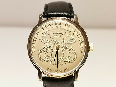 $189 • Buy Vintage Rare Golden Tone Collectible Men's Swiss Watch With Twenty Usa Coin Dial