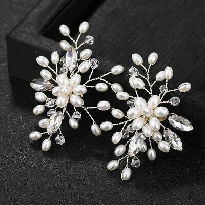 2 Pcs Pearl Crystal Shoe Clips Decoration Bridal Shoes Rhinestone Clip Buckle UK • 5.98£