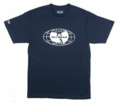 $ CDN30.32 • Buy Wu Wear Wu Tang Clan Globe Patch Sleeve Navy Blue T Shirt New Official Merch