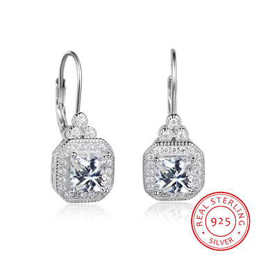 3.2Ct Signity Diamond D/VVS1 Drop Earrings Crafted In Solid  Sterling Silver • 42£