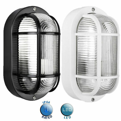 Outdoor LED Bulkhead Wall Light IP44 Exterior Lantern Black / White Lighting  • 9.99£