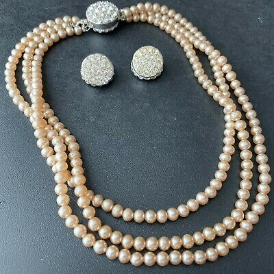 Signed SARAH COV (Patented) Vintage Glass Pearl Crystal Necklace Earrings SET 19 • 12$