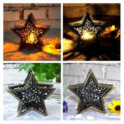 Romantic Tabletop Pentagram Metal Light Candle Holder Candlestick Decor Useful • 3.24$
